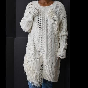 Zara Knit Oversized Fringe Sweater Size Medium